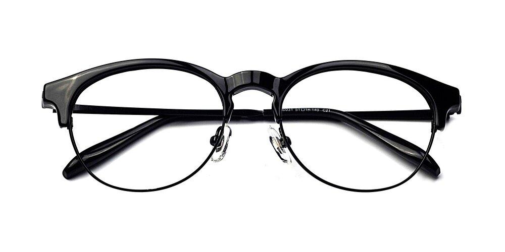 Black Browline Retro-Vintage TR90 Round Eyeglasses
