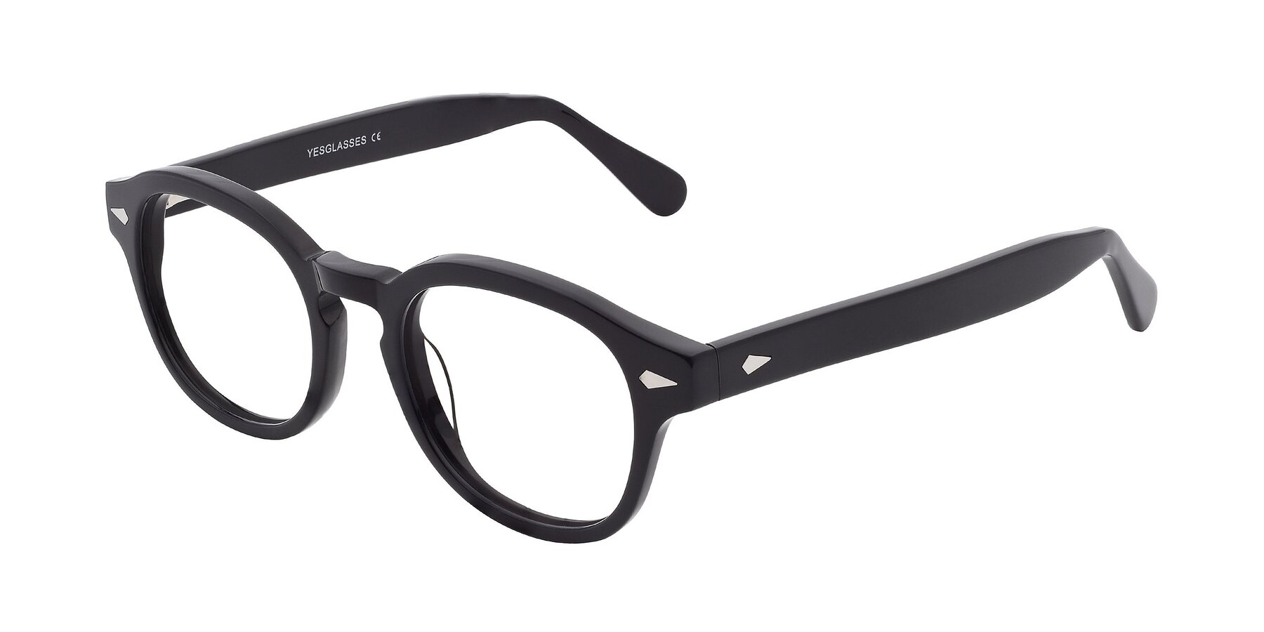 Angle of SR1609 in Black with Clear Eyeglass Lenses