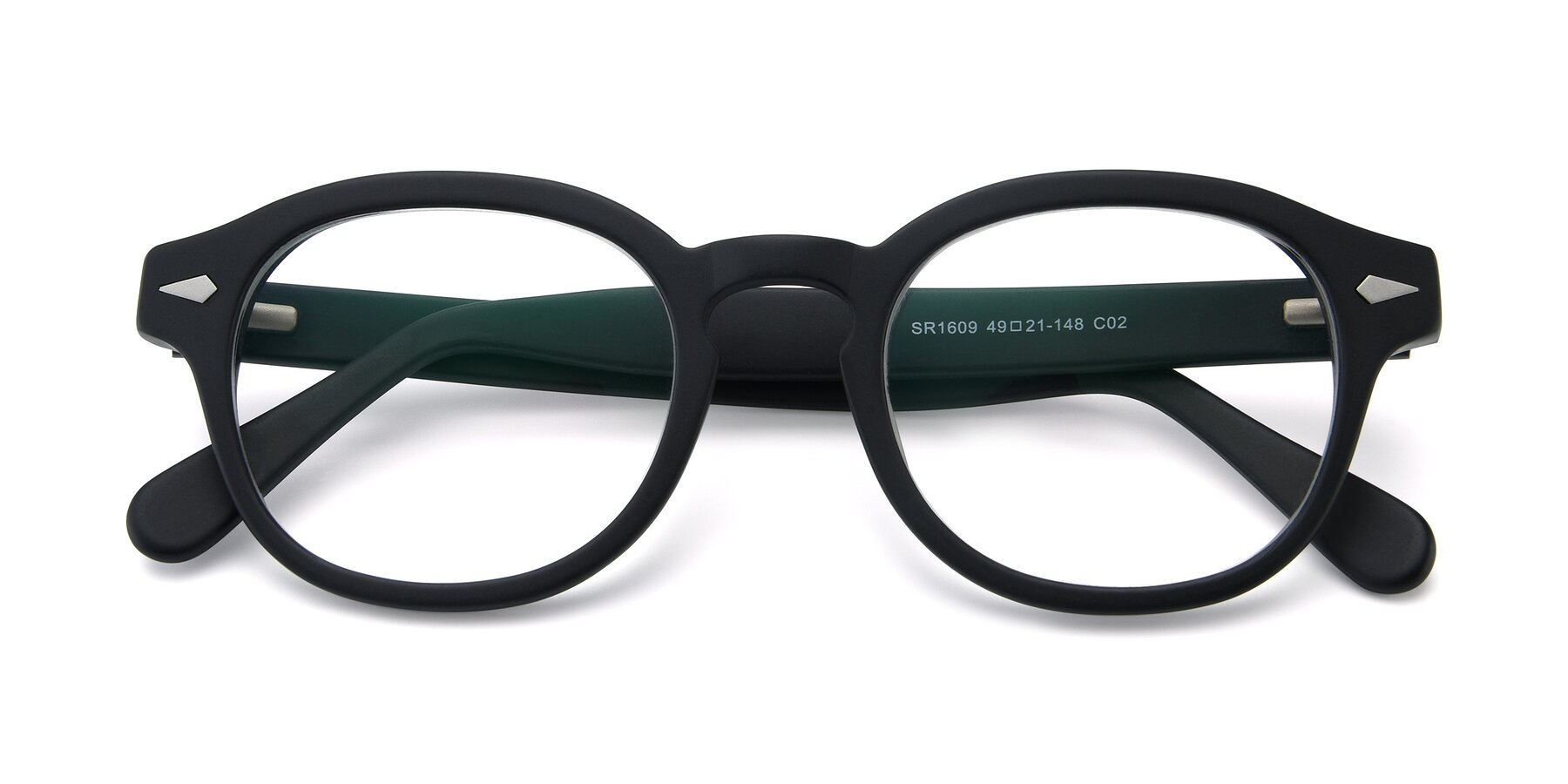 Folded Front of SR1609 in Matte Black with Clear Eyeglass Lenses