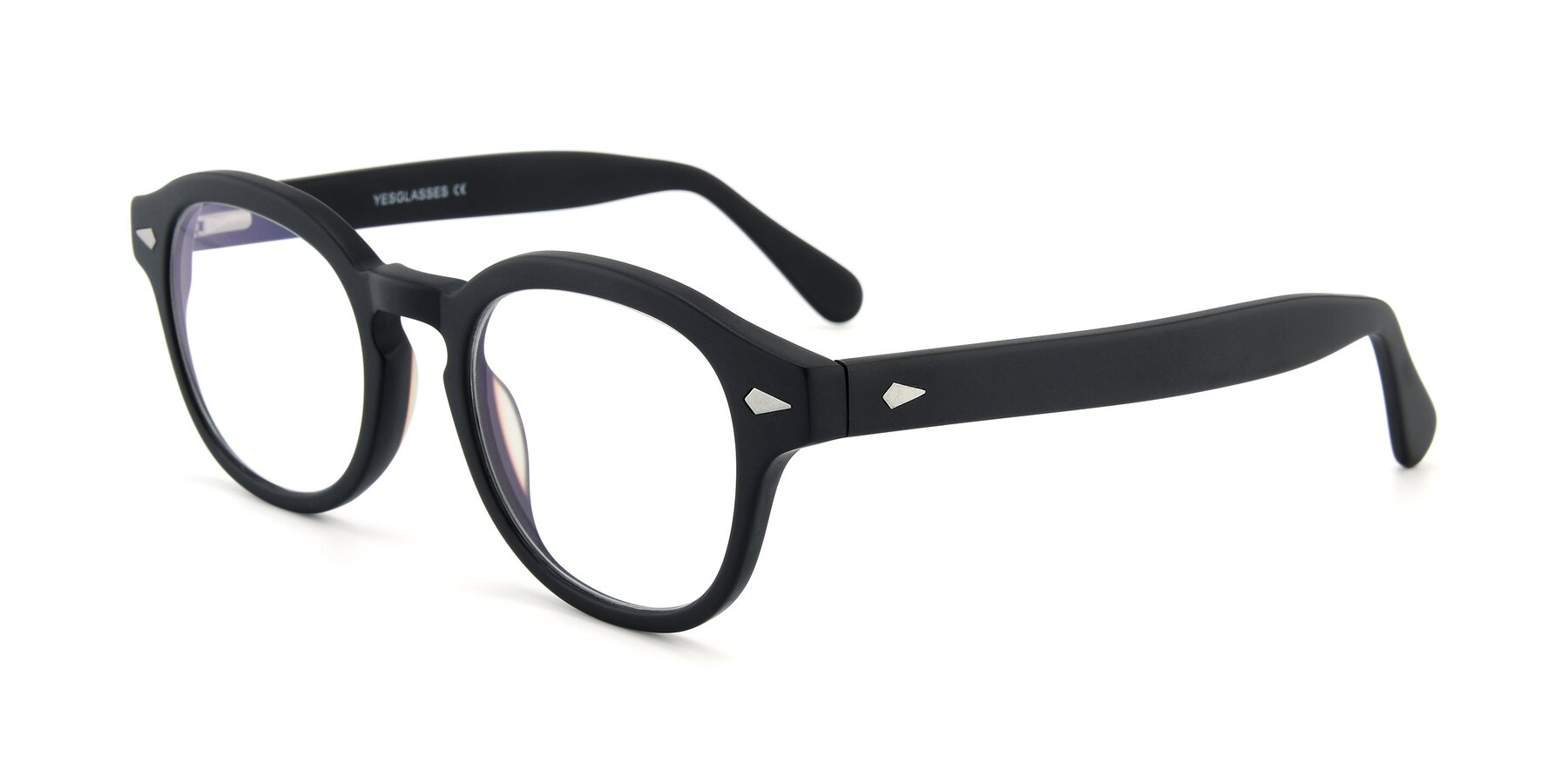 Angle of SR1609 in Matte Black with Clear Eyeglass Lenses
