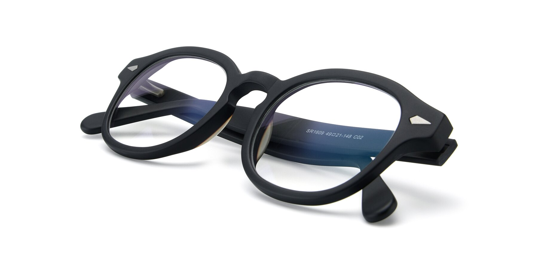 View of SR1609 in Matte Black with Clear Eyeglass Lenses