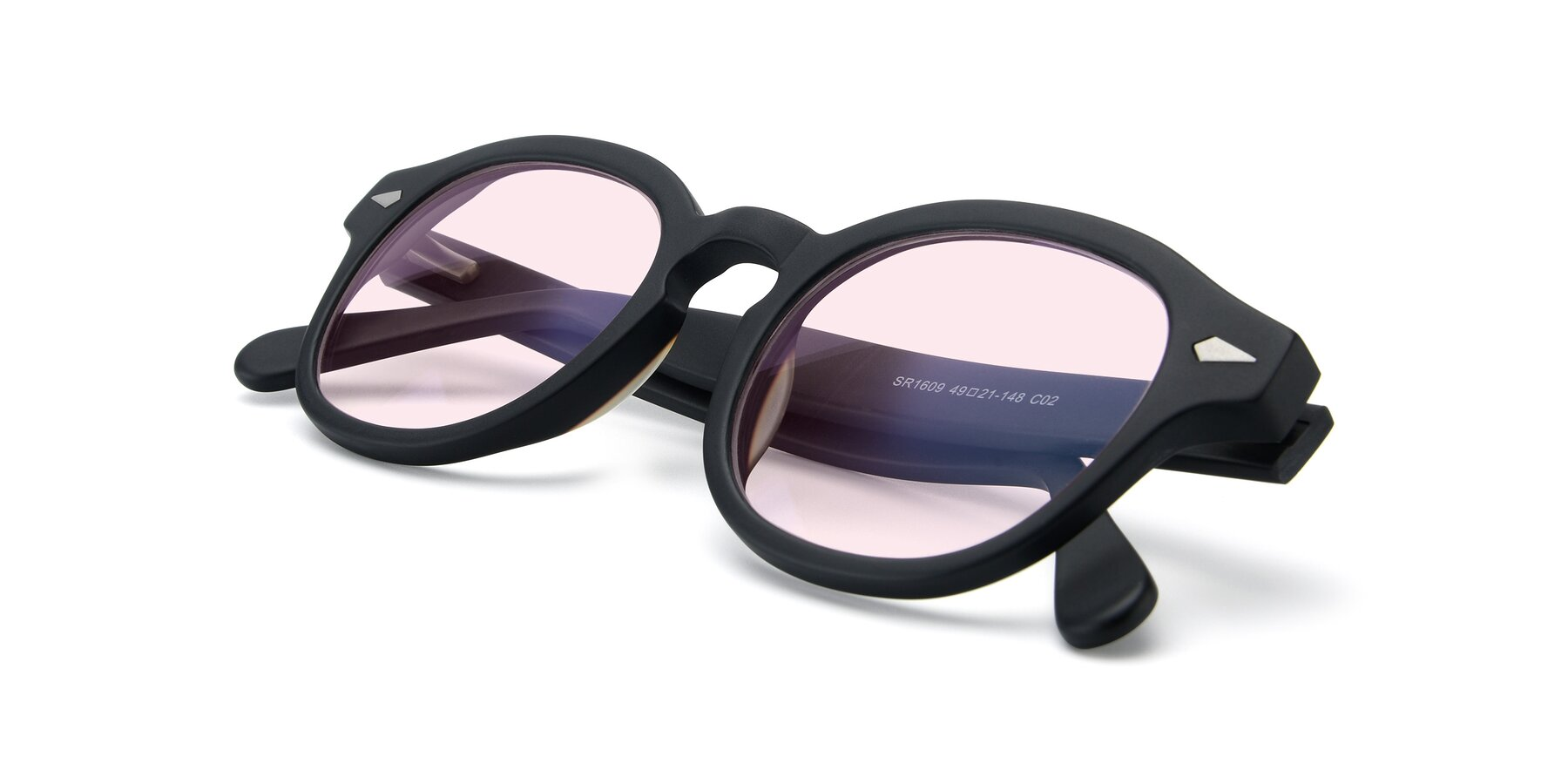 View of SR1609 in Matte Black with Light Pink Tinted Lenses