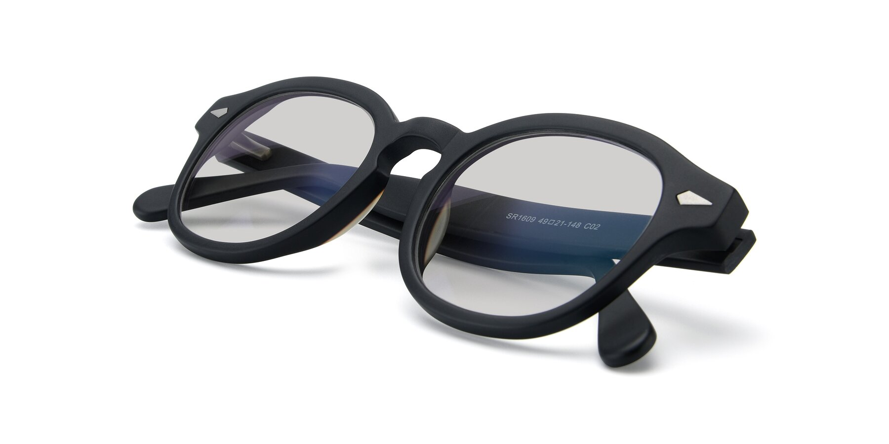 View of SR1609 in Matte Black with Light Gray Tinted Lenses