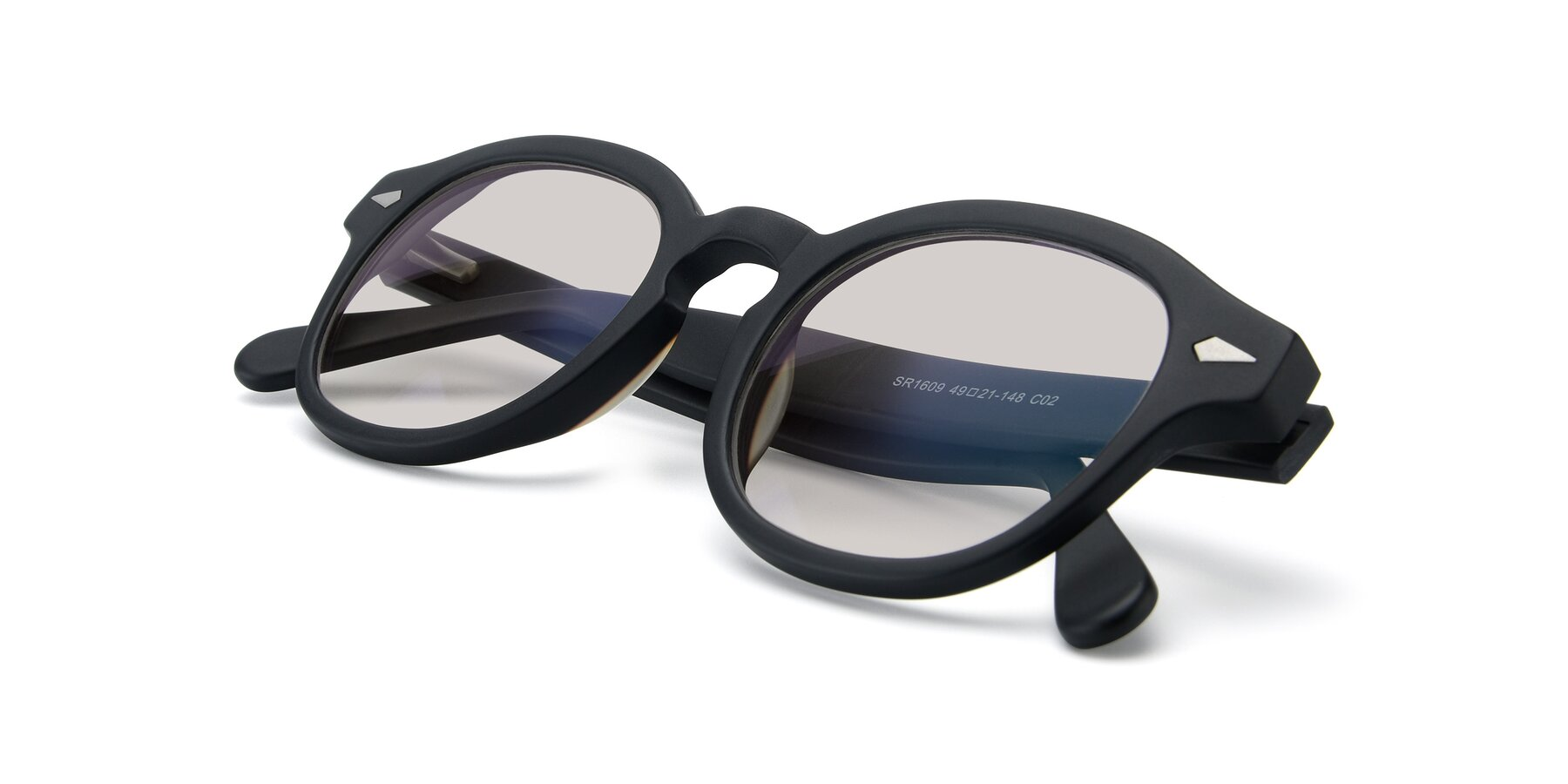View of SR1609 in Matte Black with Light Brown Tinted Lenses