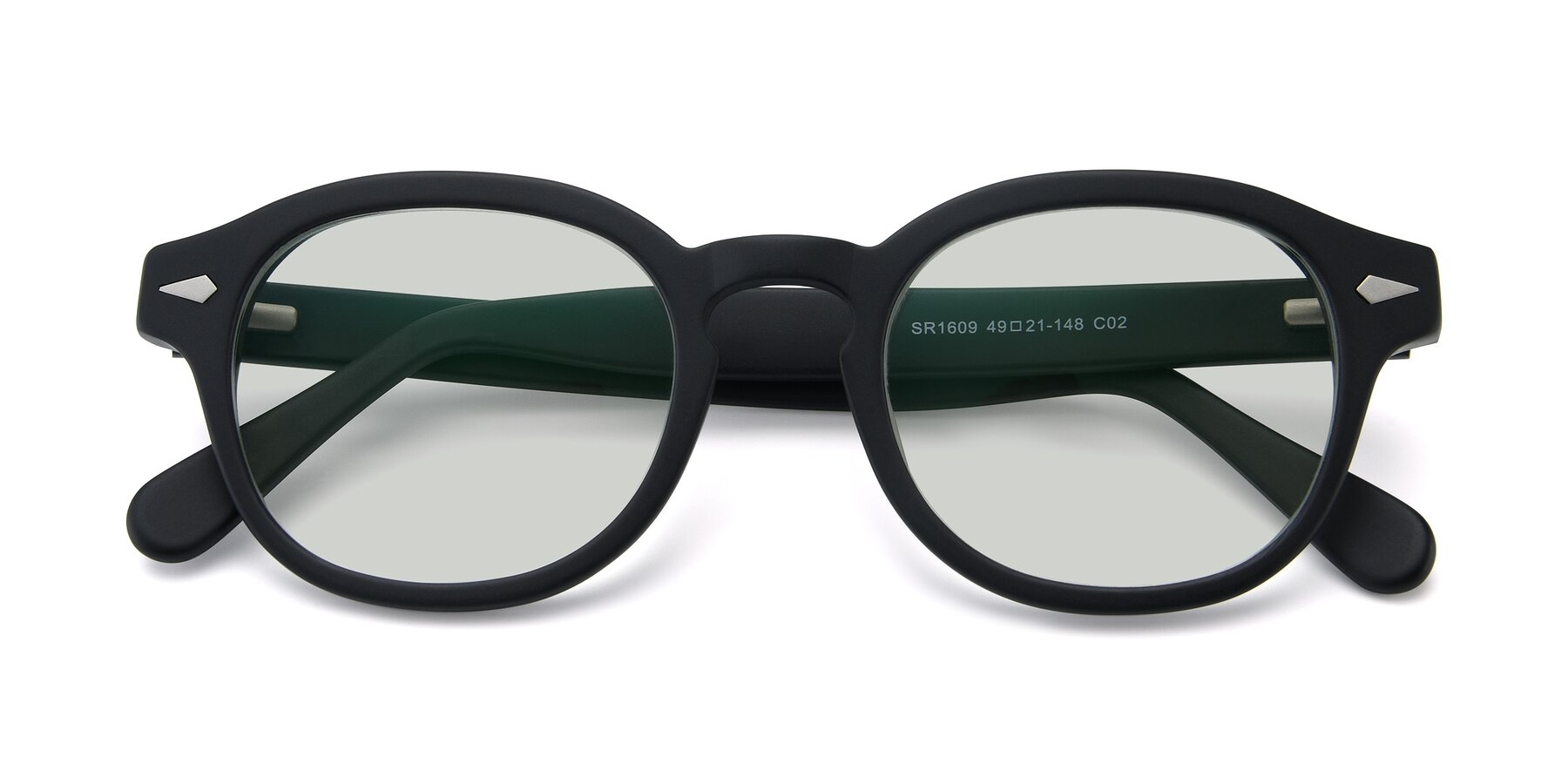 Folded Front of SR1609 in Matte Black with Light Green Tinted Lenses