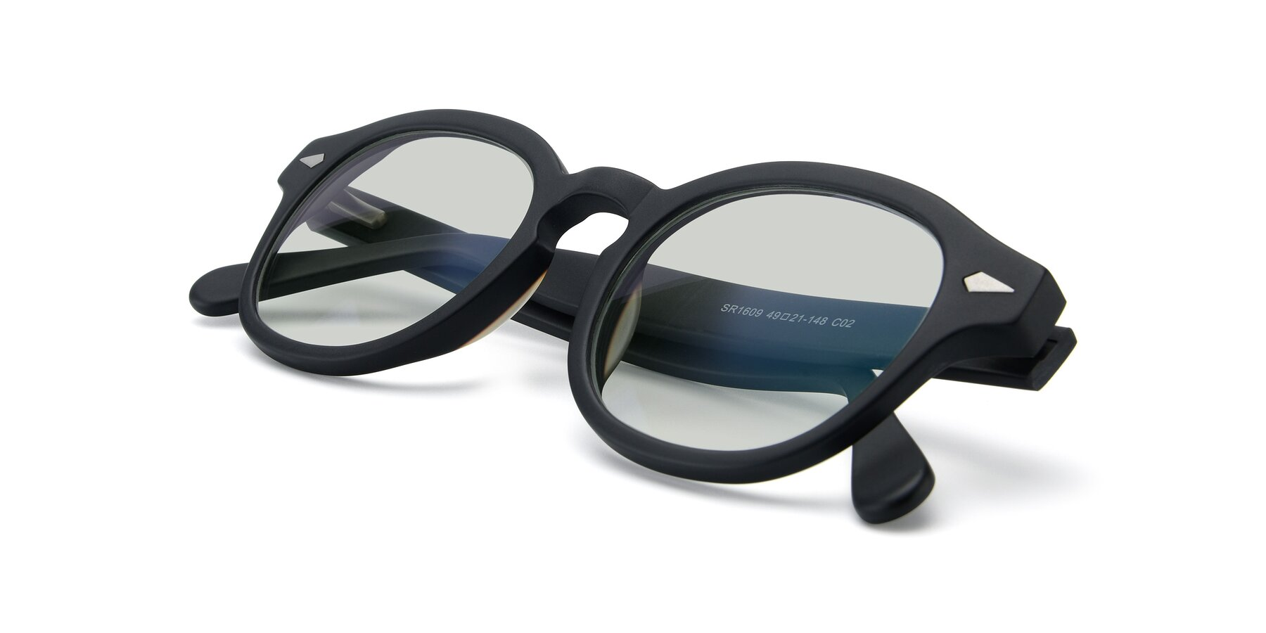 View of SR1609 in Matte Black with Light Green Tinted Lenses