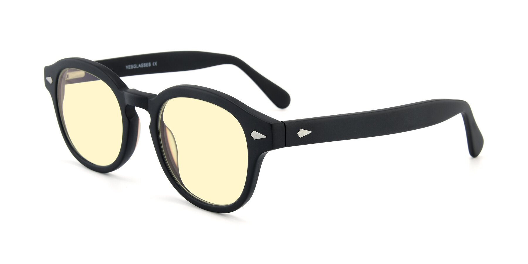 Angle of SR1609 in Matte Black with Light Yellow Tinted Lenses