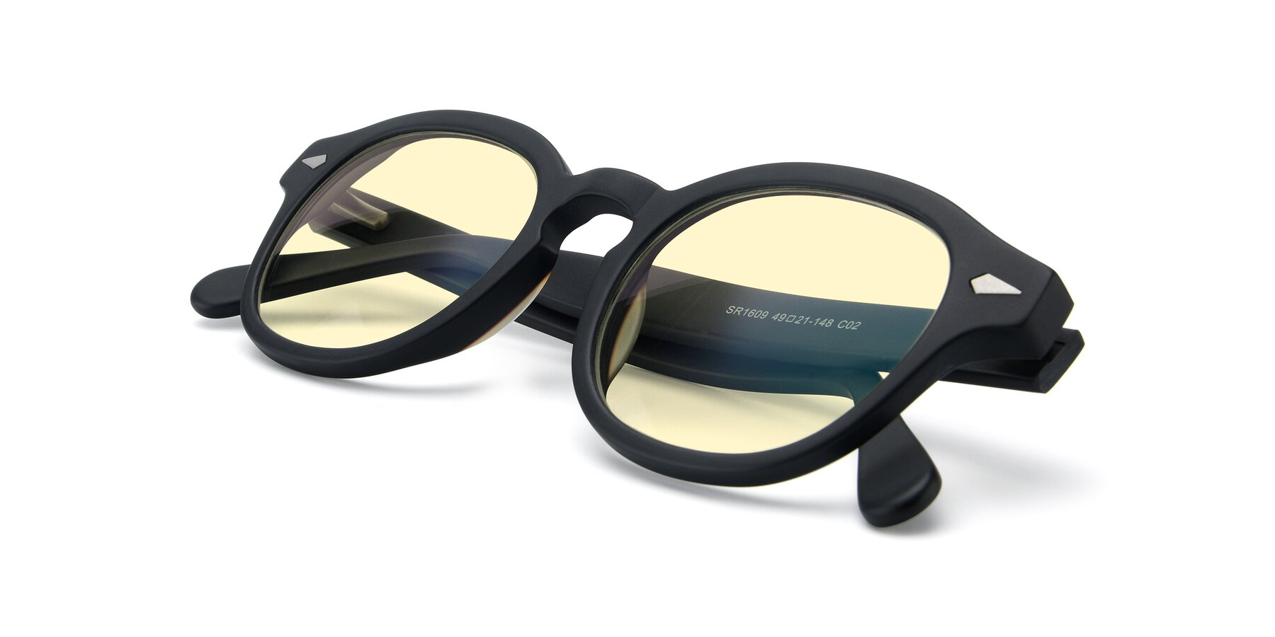 View of SR1609 in Matte Black with Light Yellow Tinted Lenses