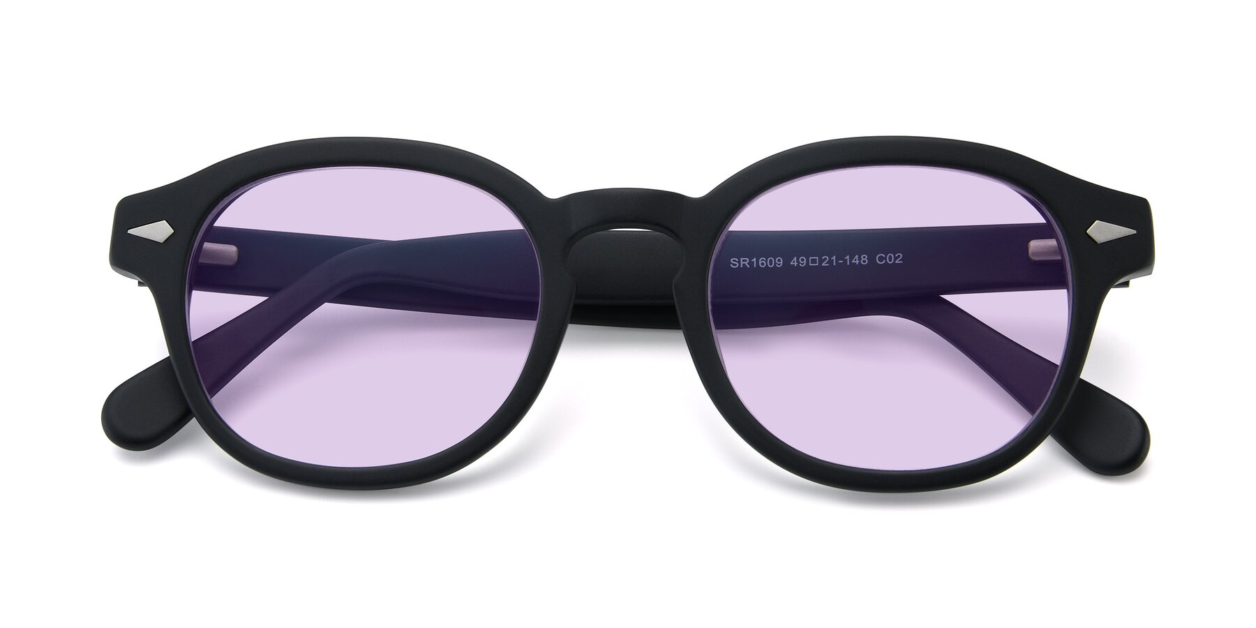 Folded Front of SR1609 in Matte Black with Light Purple Tinted Lenses