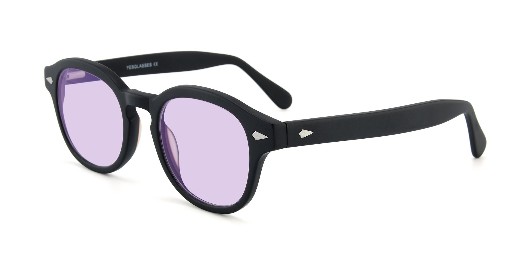 Angle of SR1609 in Matte Black with Light Purple Tinted Lenses