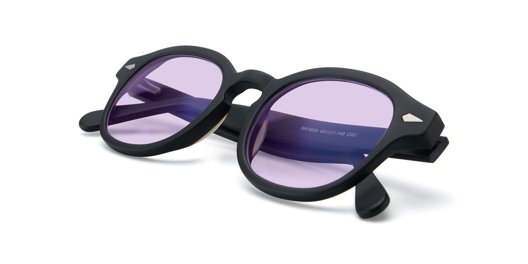 View of SR1609 in Matte Black with Light Purple Tinted Lenses