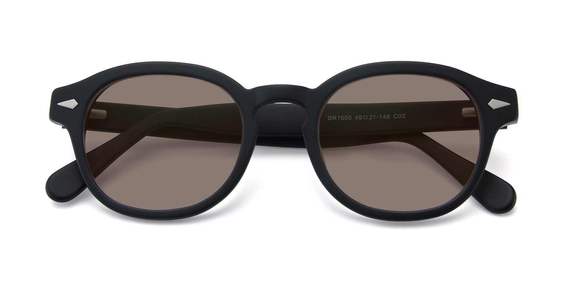 Folded Front of SR1609 in Matte Black with Medium Brown Tinted Lenses