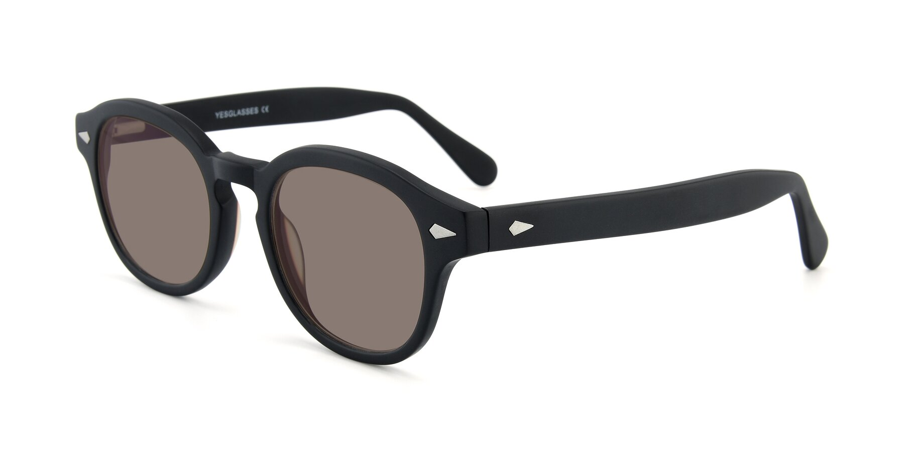 Angle of SR1609 in Matte Black with Medium Brown Tinted Lenses