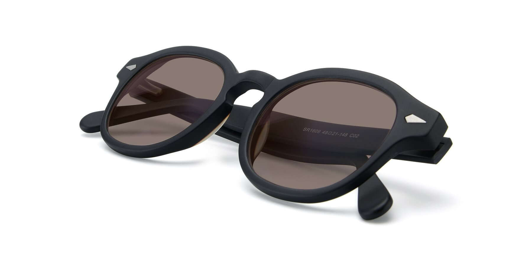 View of SR1609 in Matte Black with Medium Brown Tinted Lenses