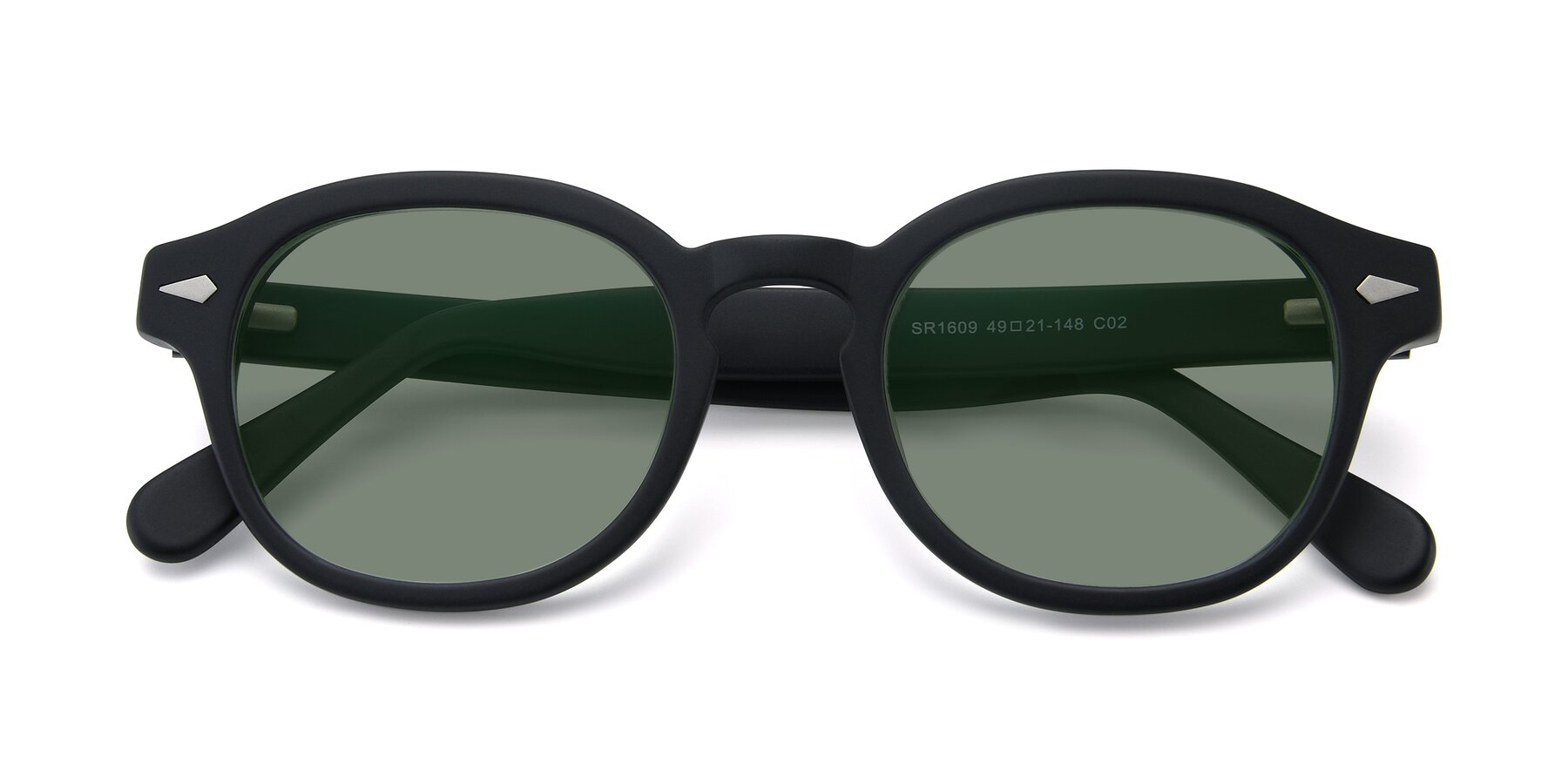 Folded Front of SR1609 in Matte Black with Medium Green Tinted Lenses