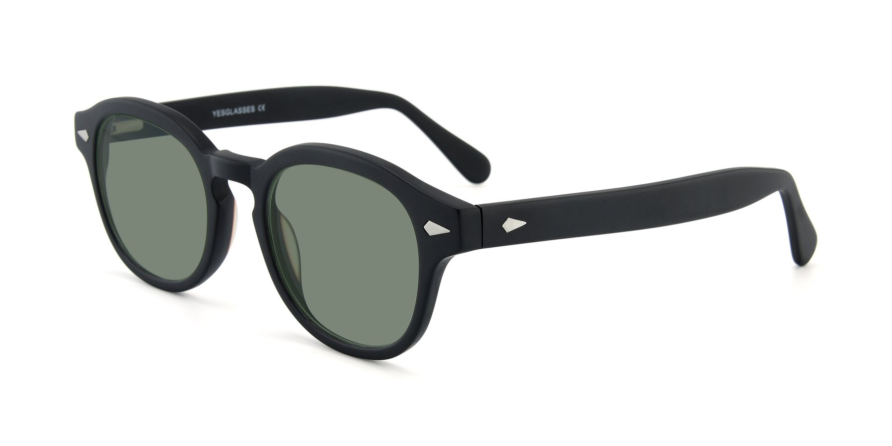 Angle of SR1609 in Matte Black with Medium Green Tinted Lenses