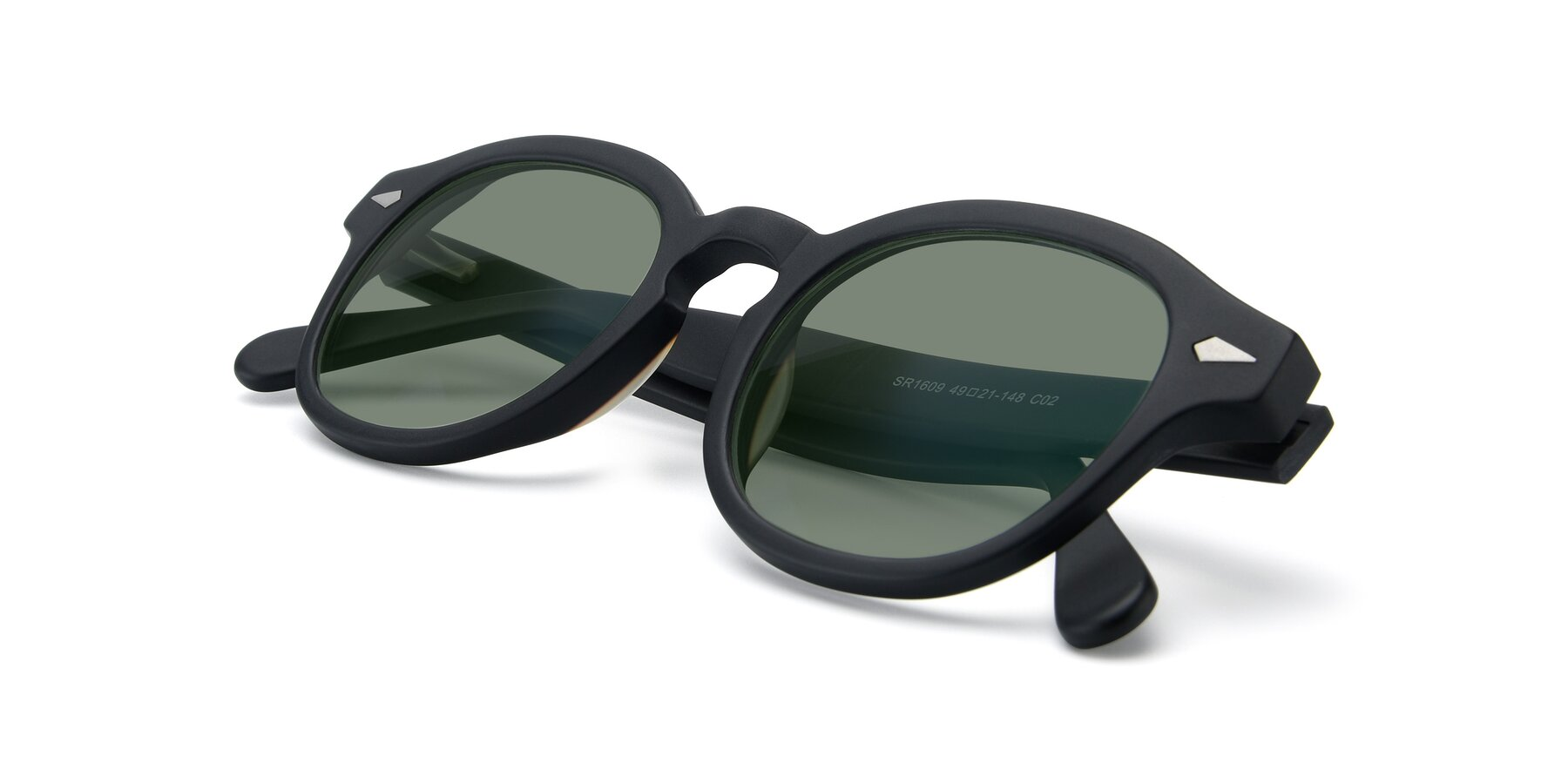 View of SR1609 in Matte Black with Medium Green Tinted Lenses