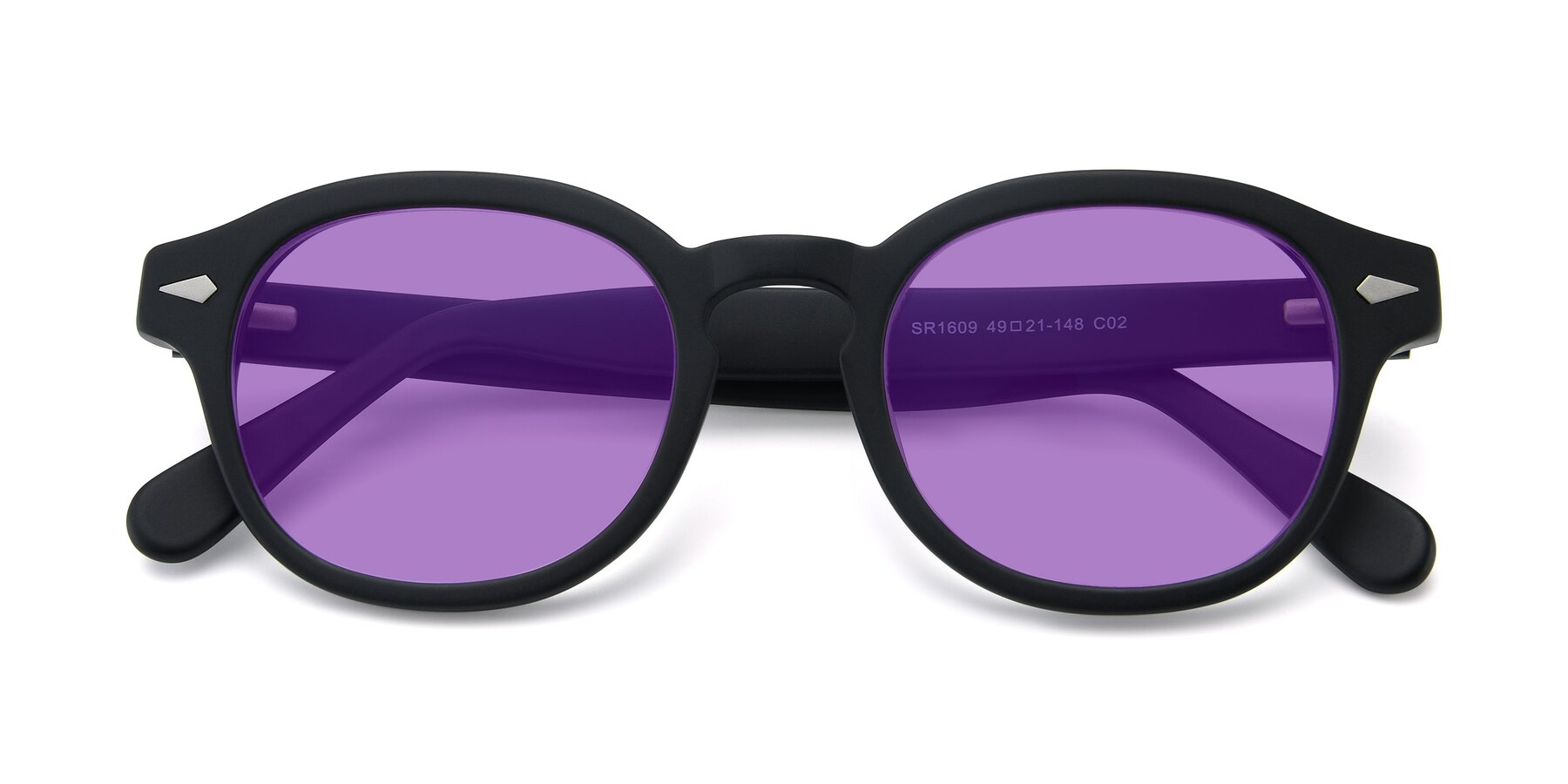 Folded Front of SR1609 in Matte Black with Medium Purple Tinted Lenses