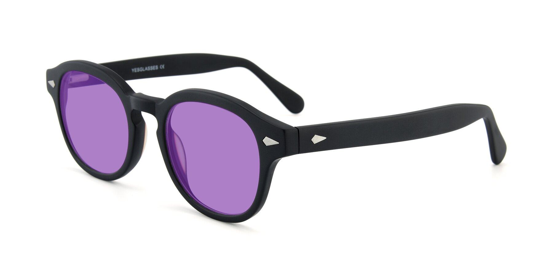 Angle of SR1609 in Matte Black with Medium Purple Tinted Lenses