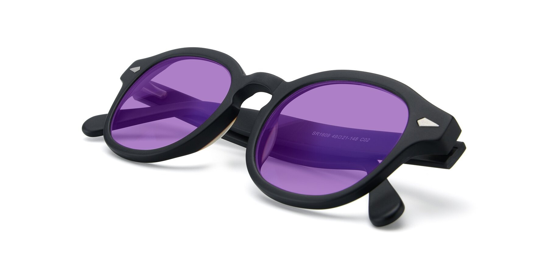 View of SR1609 in Matte Black with Medium Purple Tinted Lenses