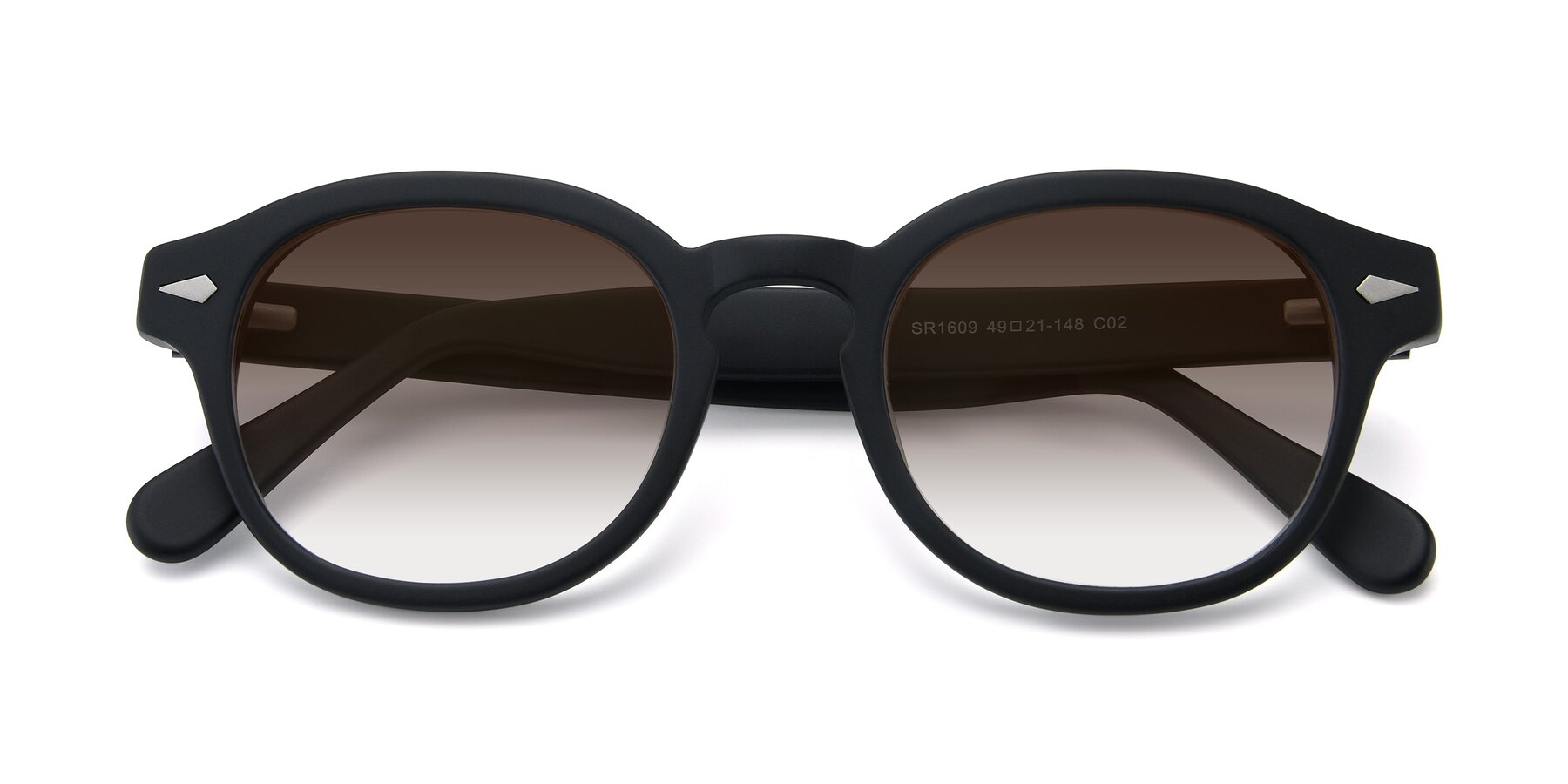 Folded Front of SR1609 in Matte Black with Brown Gradient Lenses