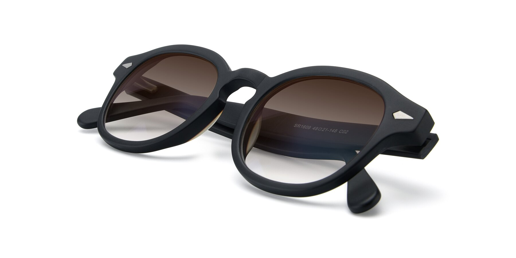 View of SR1609 in Matte Black with Brown Gradient Lenses