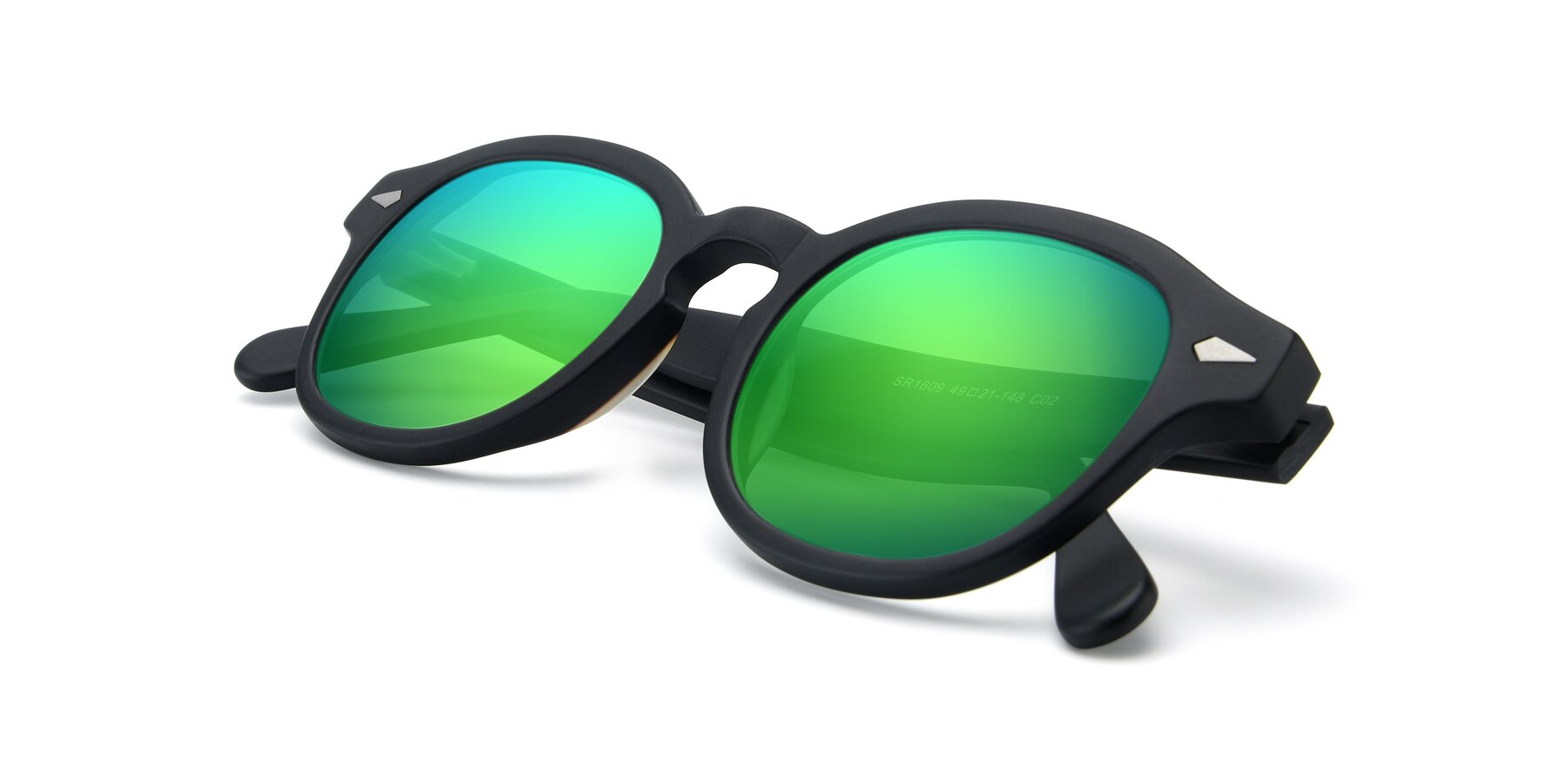 View of SR1609 in Matte Black with Green Mirrored Lenses