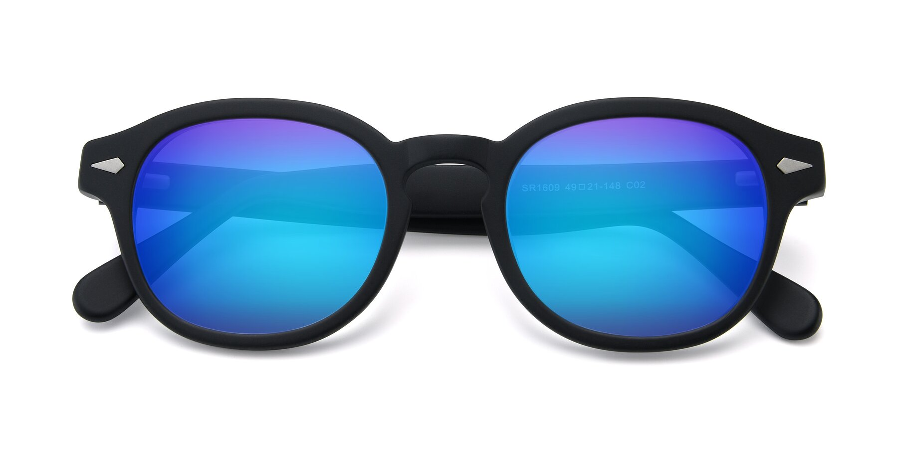 Folded Front of SR1609 in Matte Black with Blue Mirrored Lenses