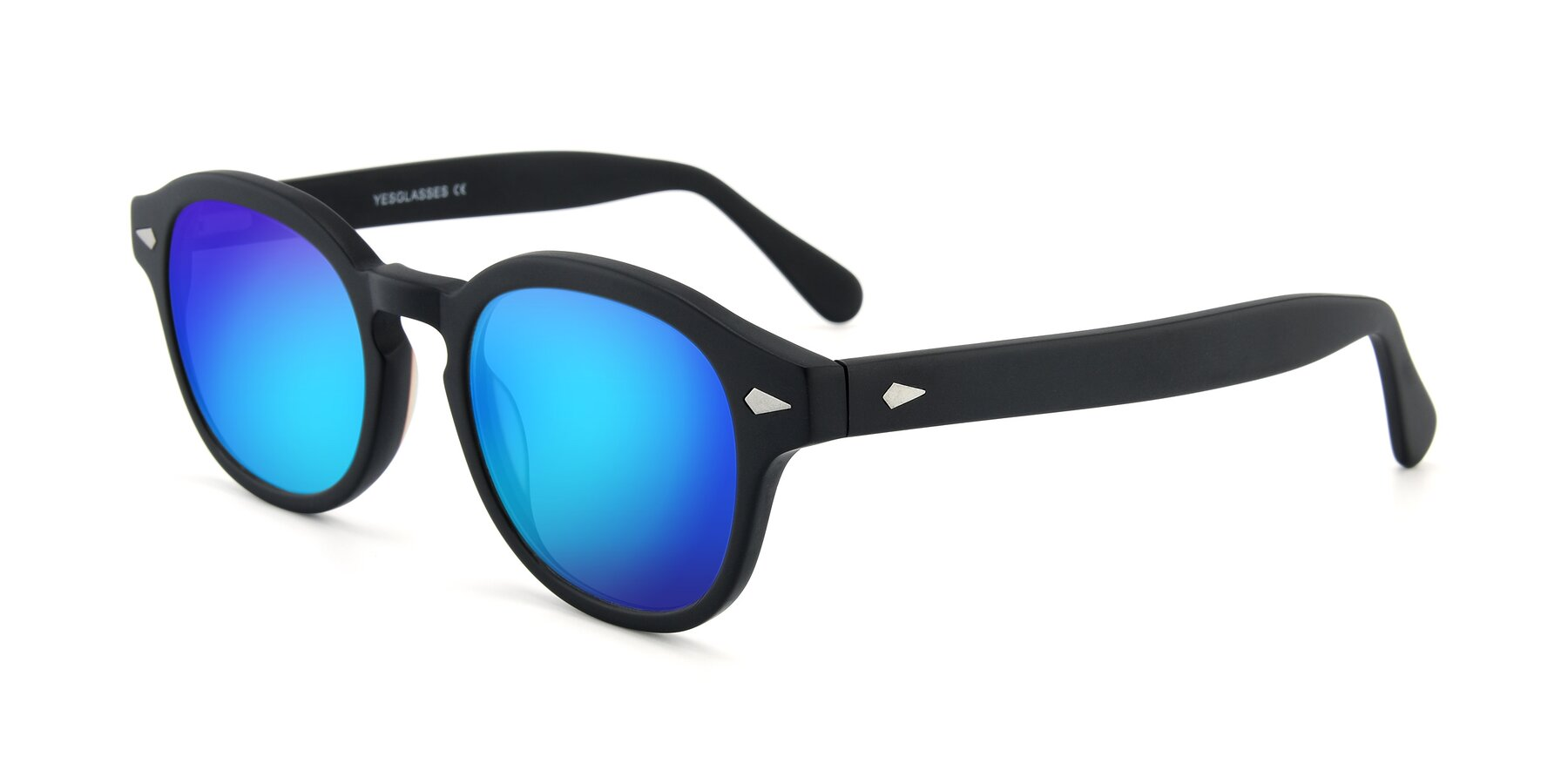 Angle of SR1609 in Matte Black with Blue Mirrored Lenses