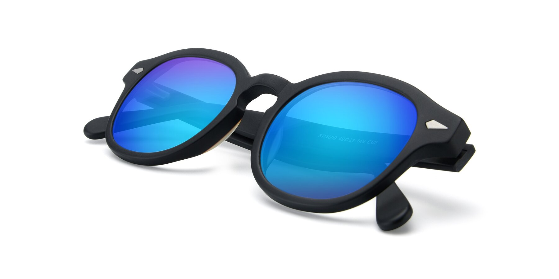 View of SR1609 in Matte Black with Blue Mirrored Lenses