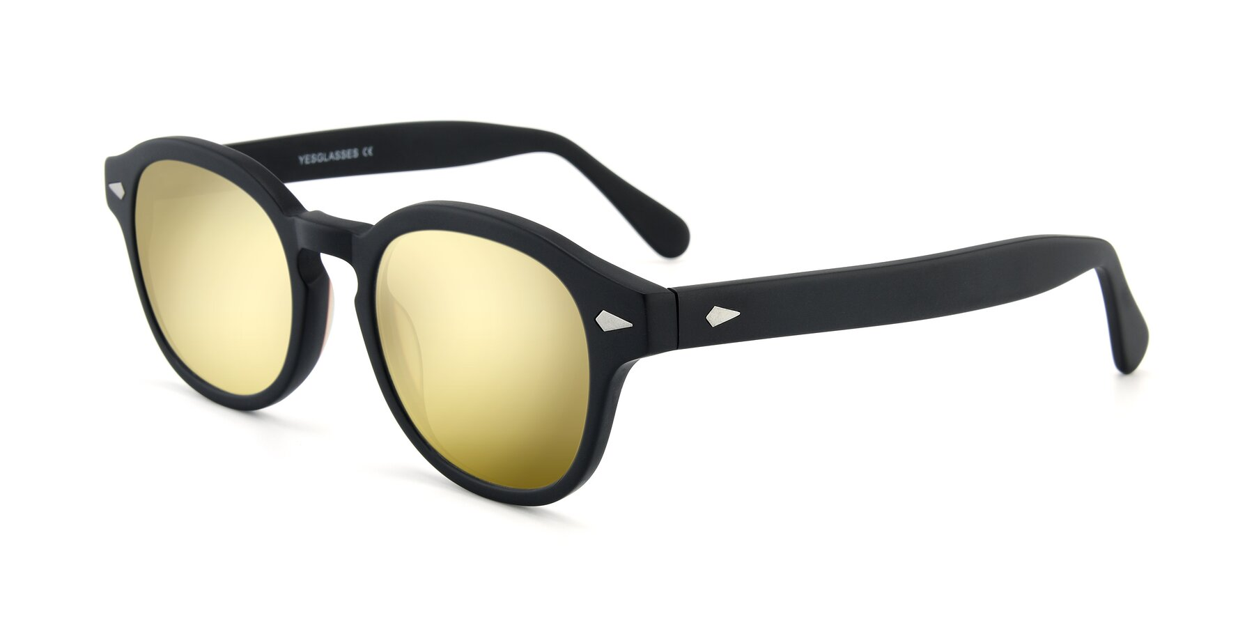 Angle of SR1609 in Matte Black with Gold Mirrored Lenses