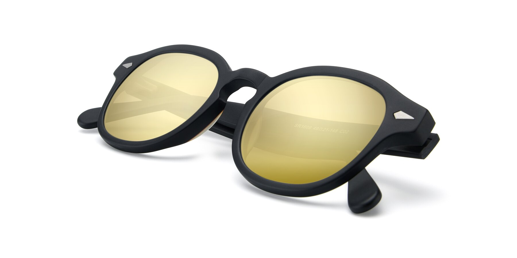 View of SR1609 in Matte Black with Gold Mirrored Lenses