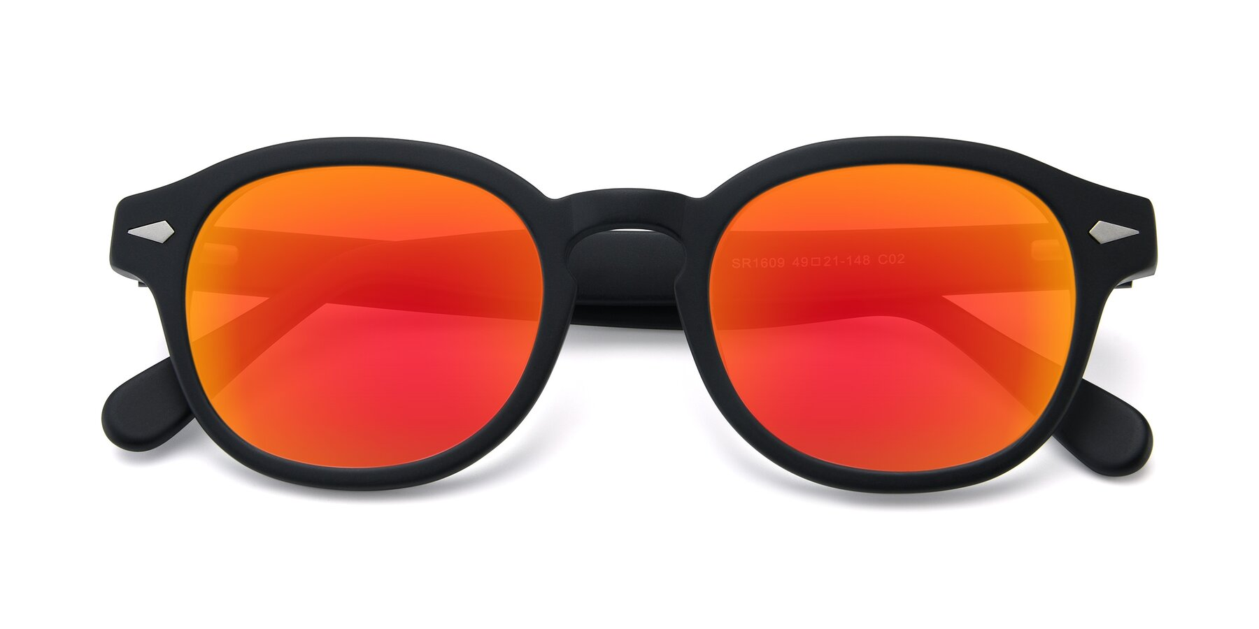 Folded Front of SR1609 in Matte Black with Red Gold Mirrored Lenses