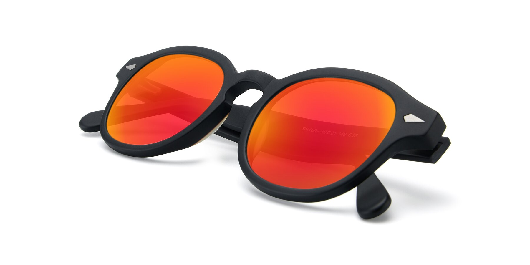 View of SR1609 in Matte Black with Red Gold Mirrored Lenses