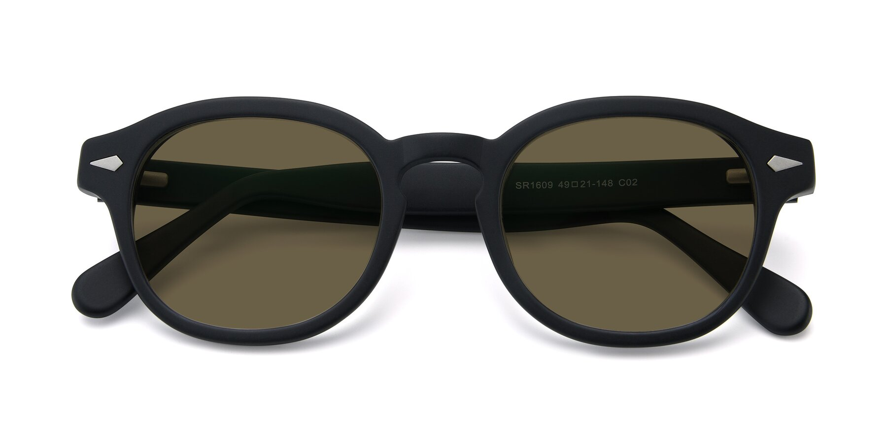 Folded Front of SR1609 in Matte Black with Brown Polarized Lenses