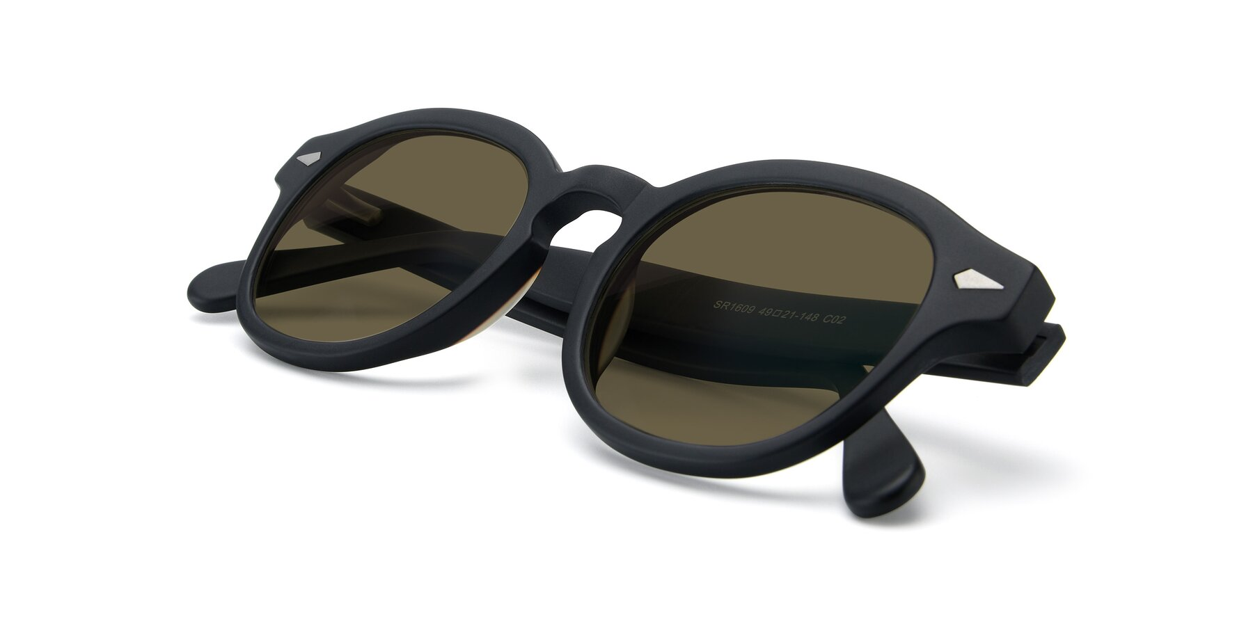 View of SR1609 in Matte Black with Brown Polarized Lenses