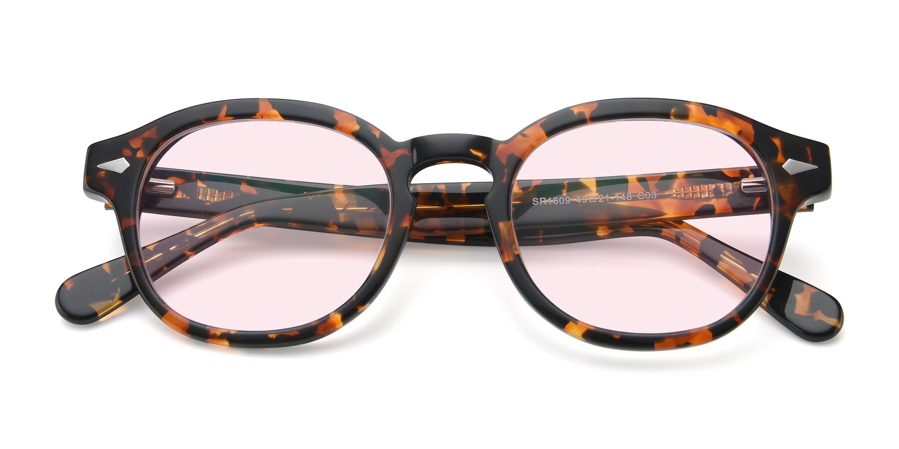 Folded Front of SR1609 in Tortoise with Light Pink Tinted Lenses