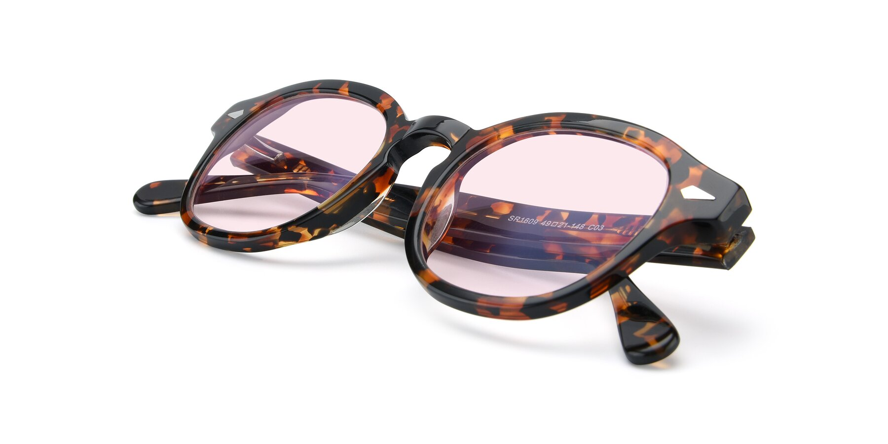 View of SR1609 in Tortoise with Light Pink Tinted Lenses