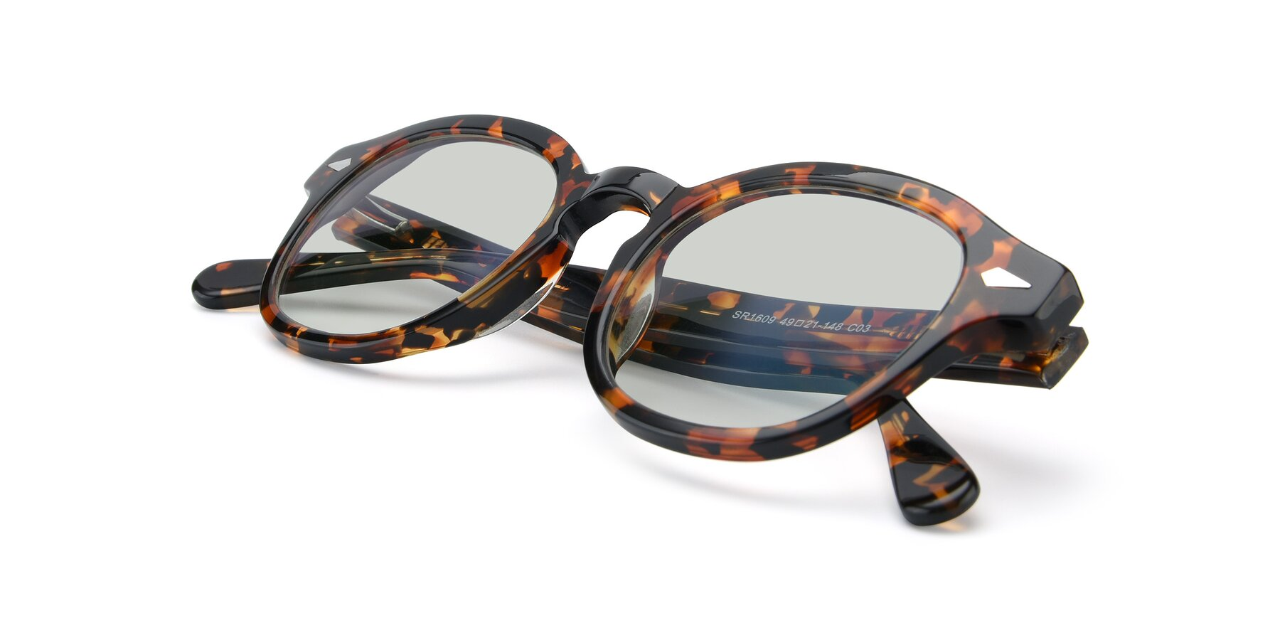 View of SR1609 in Tortoise with Light Green Tinted Lenses