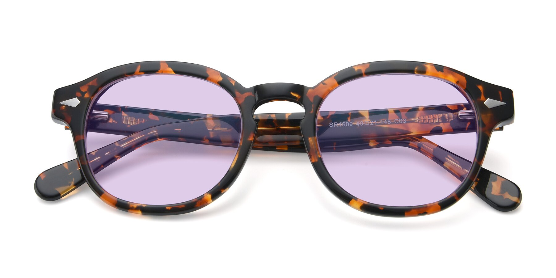 Folded Front of SR1609 in Tortoise with Light Purple Tinted Lenses