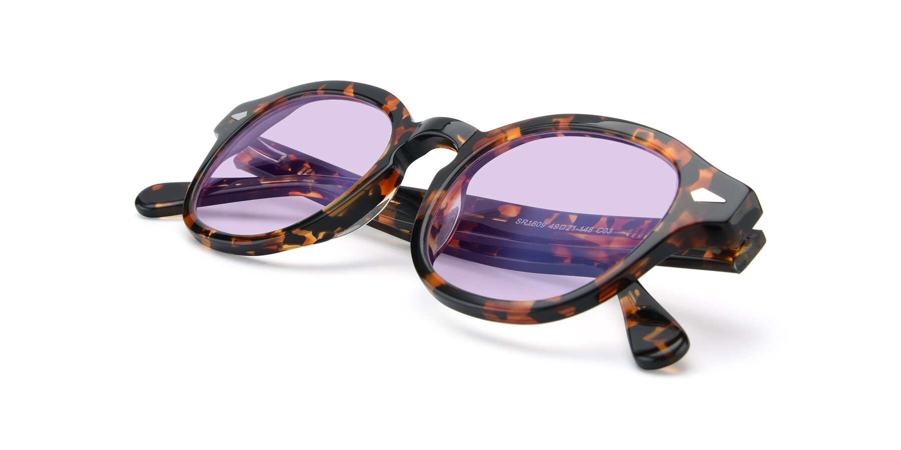 View of SR1609 in Tortoise with Light Purple Tinted Lenses