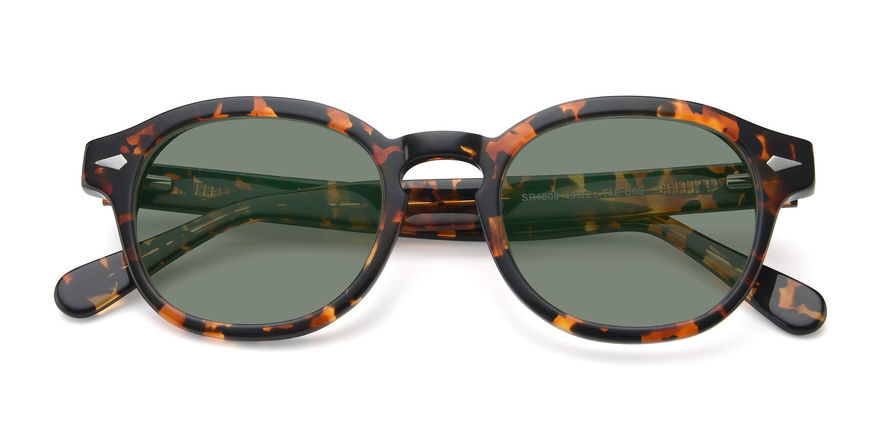 Folded Front of SR1609 in Tortoise with Medium Green Tinted Lenses