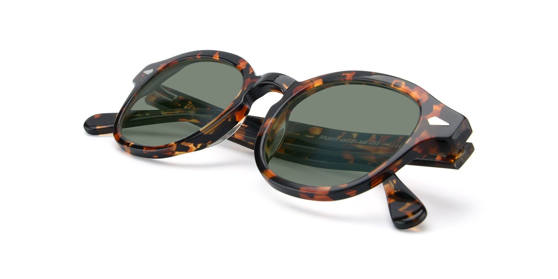View of SR1609 in Tortoise with Medium Green Tinted Lenses