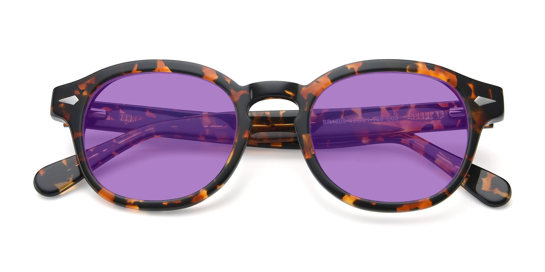 Folded Front of SR1609 in Tortoise with Medium Purple Tinted Lenses