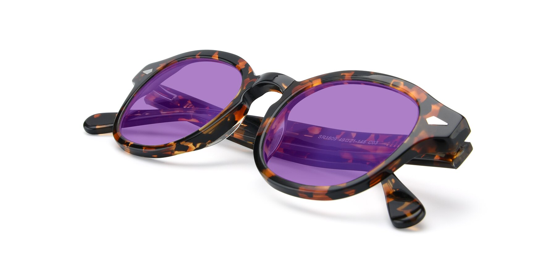 View of SR1609 in Tortoise with Medium Purple Tinted Lenses