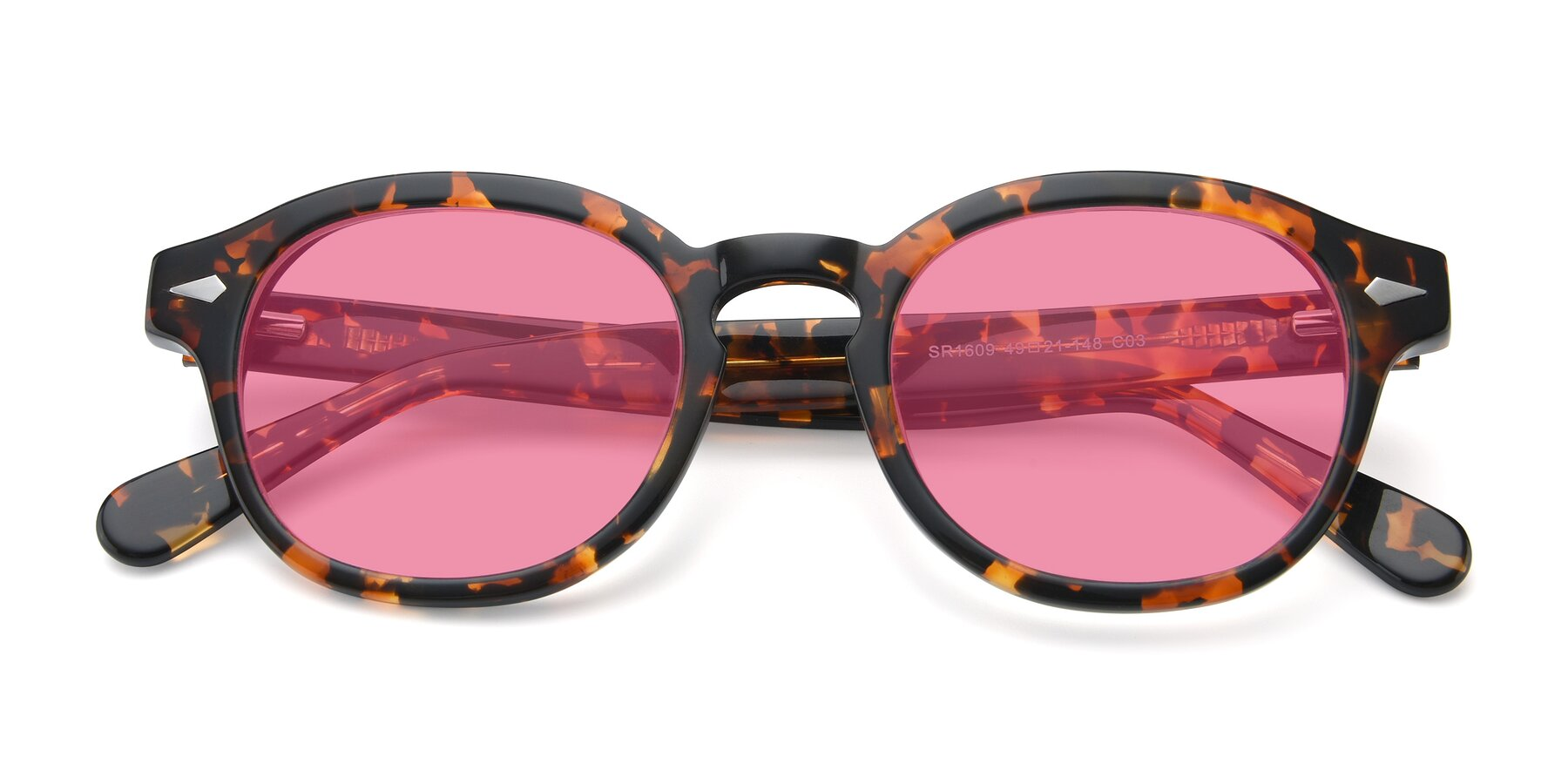 Folded Front of SR1609 in Tortoise with Pink Tinted Lenses