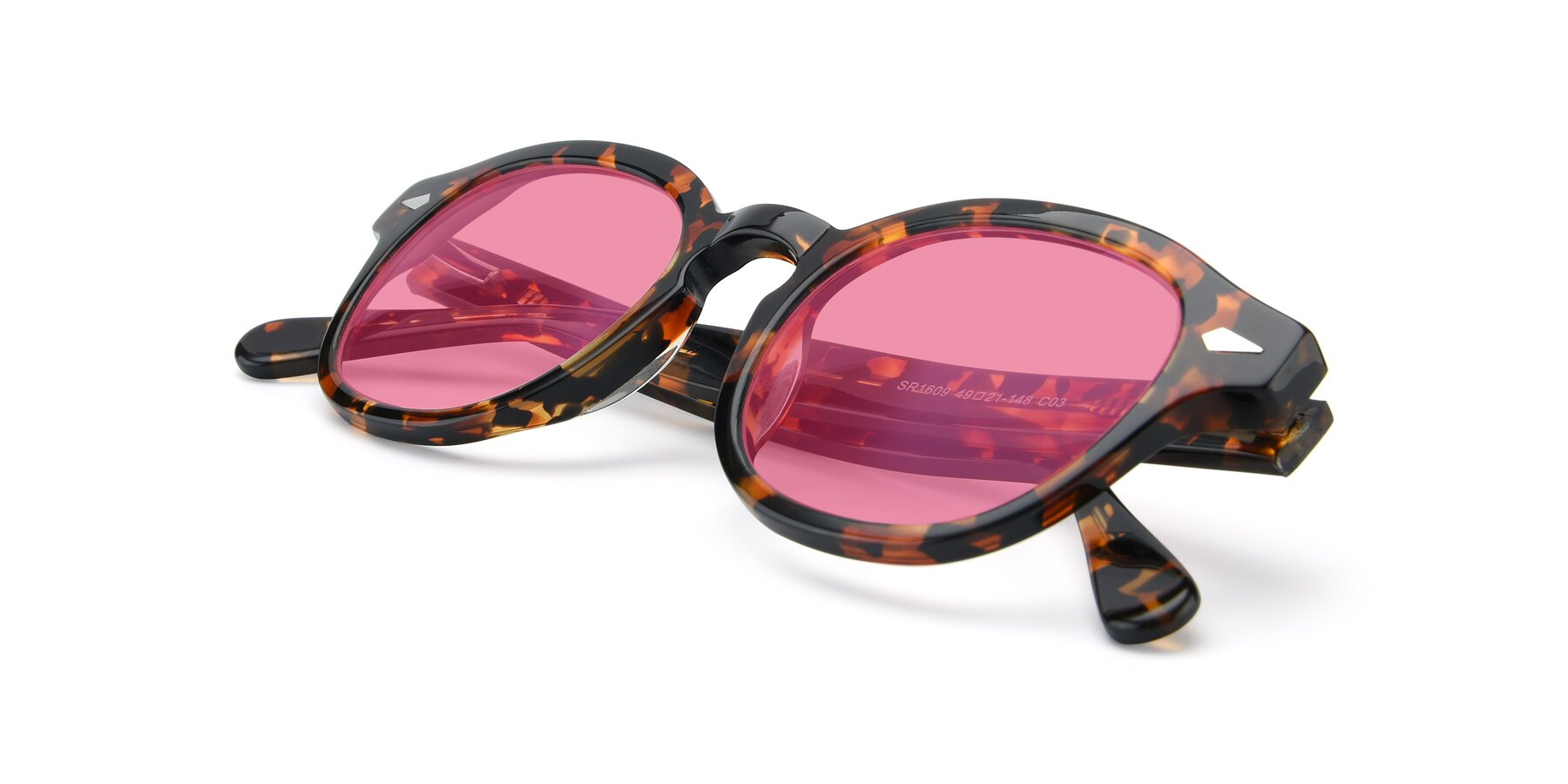 View of SR1609 in Tortoise with Pink Tinted Lenses