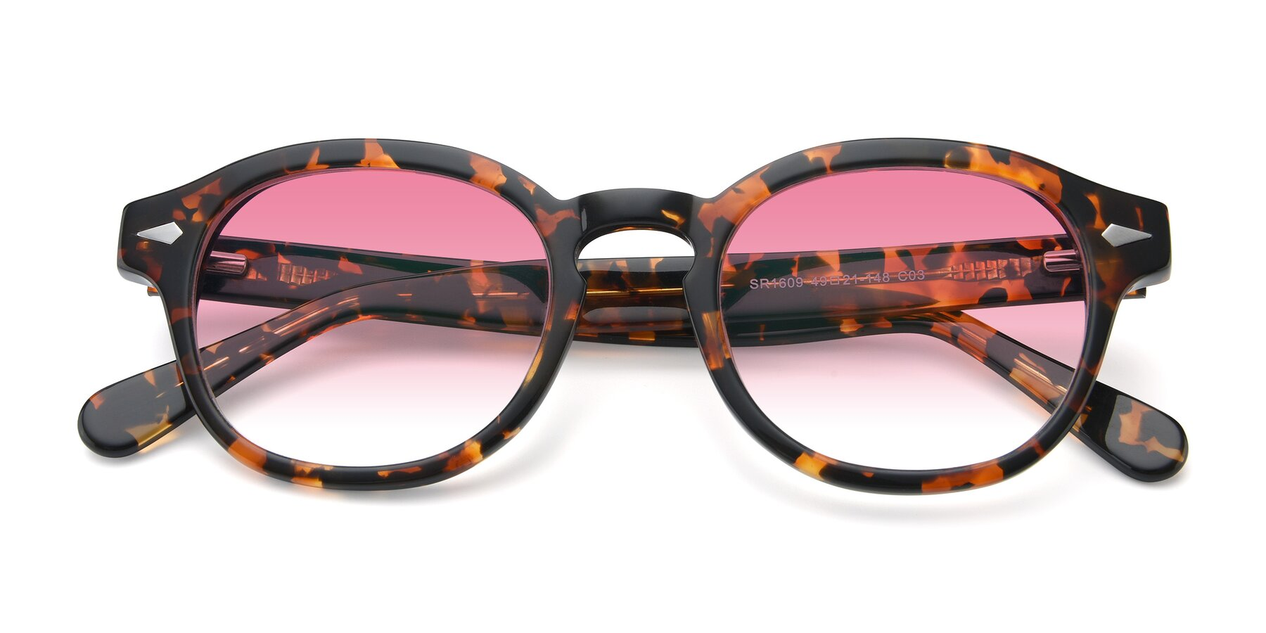 Folded Front of SR1609 in Tortoise with Pink Gradient Lenses
