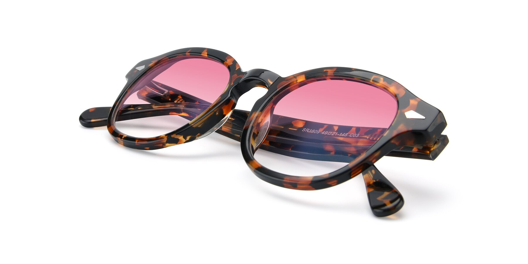 View of SR1609 in Tortoise with Pink Gradient Lenses