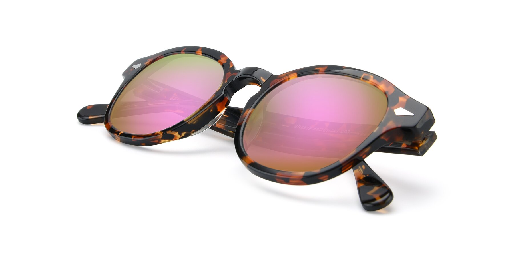 View of SR1609 in Tortoise with Pink Mirrored Lenses